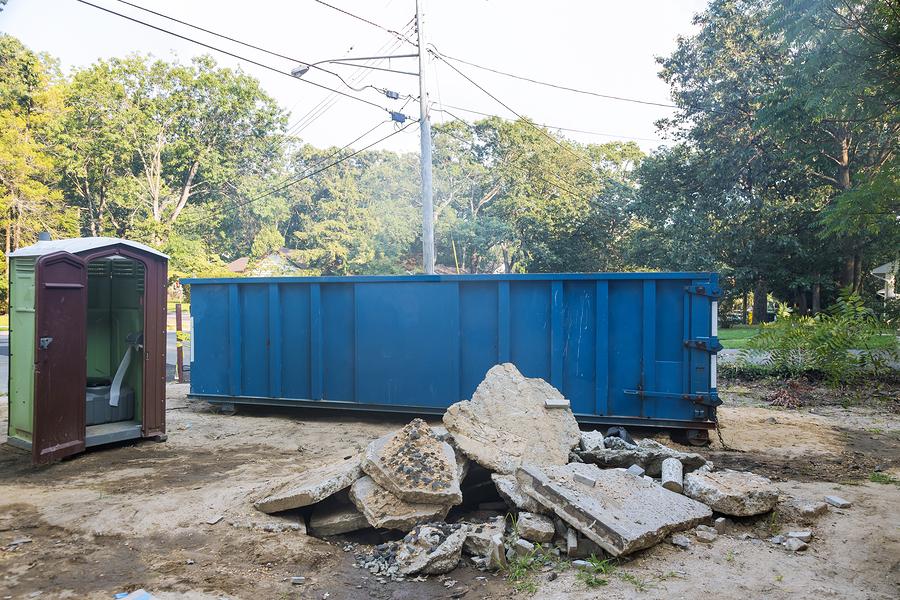 dumpster rental in use